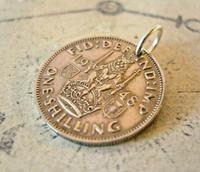 Vintage Pocket Watch Chain Fob 1948 Lucky Silver One Shilling Old 5d Coin Fob (3 of 7)