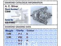 3.24ct Diamond & Platinum Cocktail Ring - Art Deco c.1935 (6 of 9)