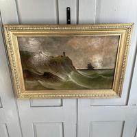 Antique Marine Coastal Seascape Oil Painting Entitled On the Yorkshire Coast by Tom Owen (7 of 10)