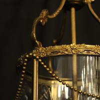 French Small Convex Gilded Triple Light Antique Lantern (5 of 10)