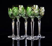 5 Green Hock Glasses Bohemian 1960