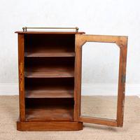 Music Cabinet Glazed Inlaid Walnut Bookcase 19th Century (10 of 10)