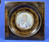 Pair of 1920s Painted Miniatures of Emperor Napoleon & Josephine (29 of 30)