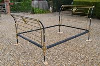 Rare Antique Victorian R.W Winfield 5ft King Size Brass & Iron Sleigh Bed (4 of 21)