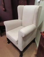 Antique Linen Upholstered Wing Back Armchair (2 of 6)
