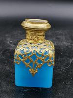Old Palais Royal Blue Opaline Glass Perfume Bottle with a Miniature of Paris (2 of 6)
