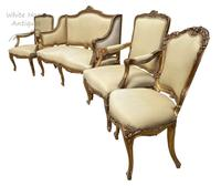 Exceptional Antique French 19th Century Gold Gilt Upholstered Salon Suite (5 of 9)