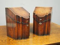 Pair of George III Inlaid Mahogany Cutlery Boxes (6 of 9)