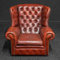 Burgundy Leather Chesterfield Wing-back Armchair (2 of 10)