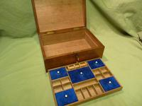 Solid Figured Oak Jewellery / Work Box - Fitted Tray (7 of 10)