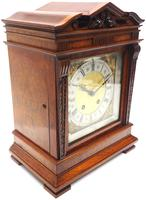 Wow! Superb Antique German Burr Walnut 8-Day Mantel Clock Striking Bracket Clock by Lenzkirch (5 of 10)