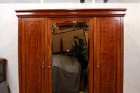 French Triple Wardrobe 19th Century Mahogany Mirrored (12 of 12)