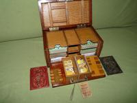 Unusual Oak Games Box - Bezique + Antique Cards + More (7 of 16)