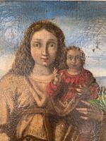 Antique Spanish oil painting study of Madonna and child (4 of 10)