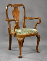 Queen Anne Style Burr Walnut Table & Chairs c.1920 (5 of 22)