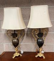 Pair of Patinated Gilt Metal Lamps by Bradley & Hubbard