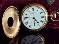 Antique Half Hunter Pocket Watch, Gold Plated, Waltham (7 of 11)