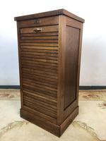 Antique French Petite Filing Cabinet Tambour Roller Shutter