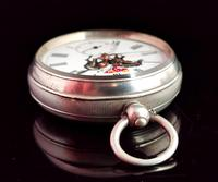 Victorian Silver Pocket Watch, Enamelled, Horse Racing (7 of 10)