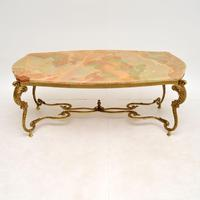 Antique French Onyx & Brass Coffee Table (2 of 12)