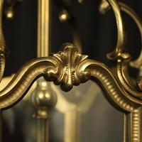 French Gilded Triple Light Antique Hall Lantern (7 of 10)