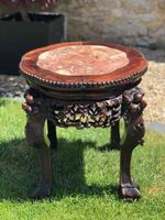 Chinese Hongmu Jardinière or Side Table with Marble Inset, Antique (14 of 16)