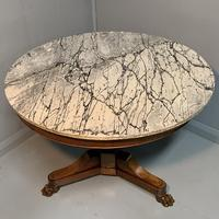 Grey Marble Top Walnut Gueridon Centre Table (5 of 5)