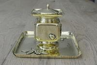 Fine English Victorian Brass Inkwell in the Japanese Inspired Style c.1880 (5 of 7)