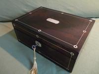 Inlaid Rosewood Jewellery Box + Tray. Plush Interior c 1845 (2 of 12)