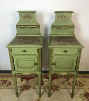 Antique French Painted Bedside Tables Pot Cupboards Original Paint (7 of 13)
