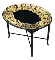 Victorian Decorated Black Lacquer Tray on Stand Coffee Table (5 of 11)