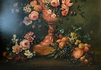 Dutch 18thc Manner RARE Huge Pair Vintage Fruit Floral Still Life Oil Paintings (9 of 23)