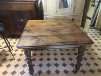 Antique Square Pine Rustic Kitchen Dining Table (7 of 7)