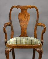 Queen Anne Style Burr Walnut Table & Chairs c.1920 (7 of 22)