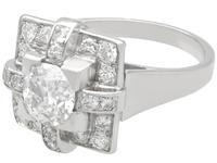 1.53ct Diamond & Platinum Dress Ring - Art Deco - Vintage French c.1940 (4 of 9)