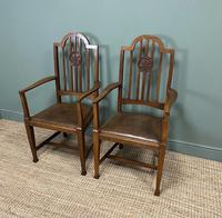 Unusual Pair of Edwardian Oak Carver Chairs by JAS. Shoolbred (6 of 8)