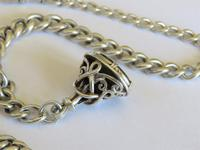 Antique Silver Double Watch Chain and Fob (3 of 4)