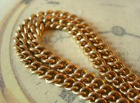 Antique Pocket Watch Chain 1890s Victorian Large 10ct Rose Rolled Gold Albert With T Bar (7 of 12)