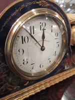 Antique Chinioserie Blue Lacquered Mantel Clock (3 of 7)
