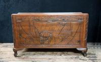 Oriental Carved Teak & Camphor Wood Chest - 1930s (13 of 15)