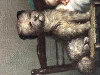 """19th Century English School Oil Painting """"The Loyal Sentinel"""" Dog Guarding Child (7 of 17)"""