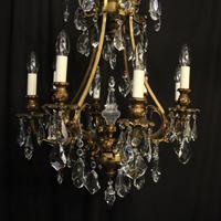 Italian Gilded Bronze & Crystal 8 Light Chandelier (2 of 10)