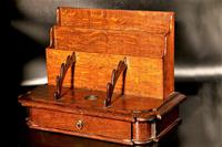 Late 19th Century Oak Slope Fronted Correspondence Box