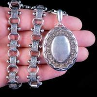 Antique Victorian Locket Collar Necklace Silver c.1880 (2 of 9)