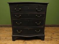 Antique Black Painted Serpentine Chest of Drawers, Bachelors Chest, Gothic (4 of 12)