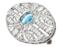 2.79ct Aquamarine & 4.96ct Diamond, 18ct White Gold Brooch - Antique French c.1910 (3 of 9)