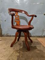Antique Chinese Cherry Wood Swivel Captains Desk Chair (9 of 10)
