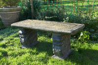 Old Weathered Oriental Cast Garden Bench, with Dragons (2 of 11)