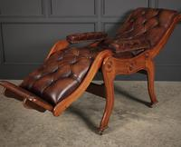 Rare Mahogany & Buttoned Brown Leather Reclining Chair (10 of 15)
