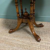 Victorian Oval Figured Walnut Inlaid Antique Side Table (2 of 7)